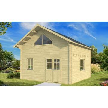 chalet en bois avec mezzanine facile monter tous chalets. Black Bedroom Furniture Sets. Home Design Ideas